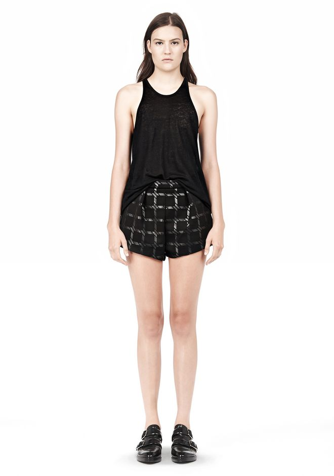 T by ALEXANDER WANG GRID PRINT NEOPRENE CROPPED SHORTS SHORTS Adult 12_n_f