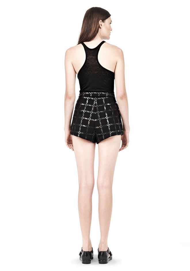 T by ALEXANDER WANG GRID PRINT NEOPRENE CROPPED SHORTS SHORTS Adult 12_n_r