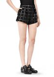 T by ALEXANDER WANG GRID PRINT NEOPRENE CROPPED SHORTS SHORTS Adult 8_n_e