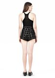T by ALEXANDER WANG GRID PRINT NEOPRENE CROPPED SHORTS SHORTS Adult 8_n_r