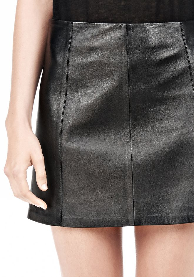 T by ALEXANDER WANG LIGHTWEIGHT A-LINE LEATHER SKIRT Skirt/DEL Adult 12_n_a