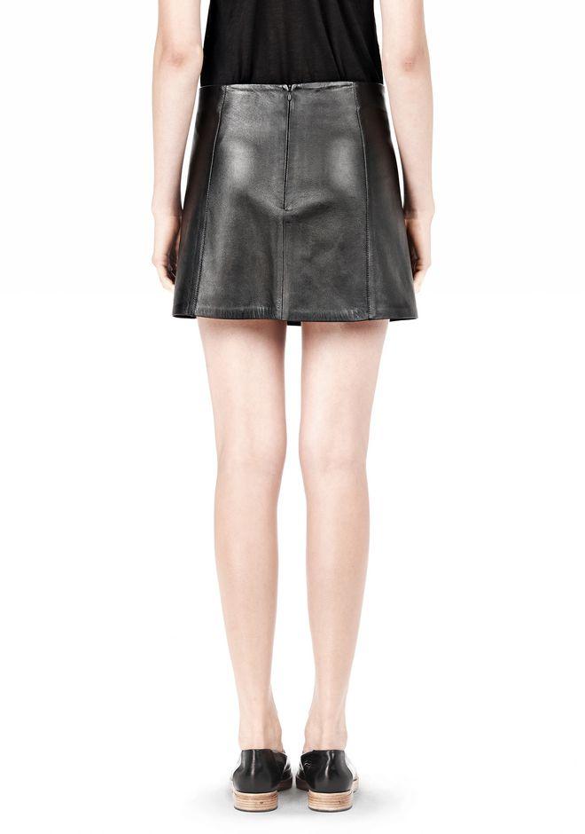 T by ALEXANDER WANG LIGHTWEIGHT A-LINE LEATHER SKIRT Skirt Adult 12_n_d