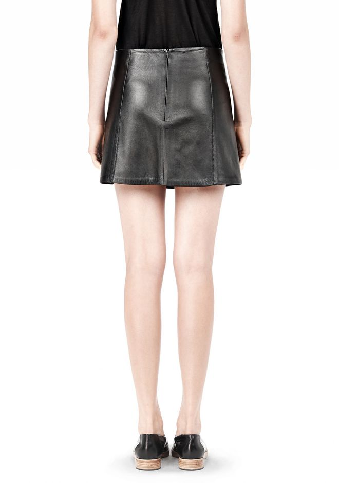 T by ALEXANDER WANG LIGHTWEIGHT A-LINE LEATHER SKIRT Skirt/DEL Adult 12_n_d