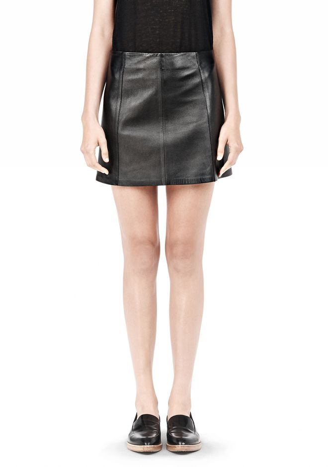 T by ALEXANDER WANG LIGHTWEIGHT A-LINE LEATHER SKIRT Skirt/DEL Adult 12_n_e