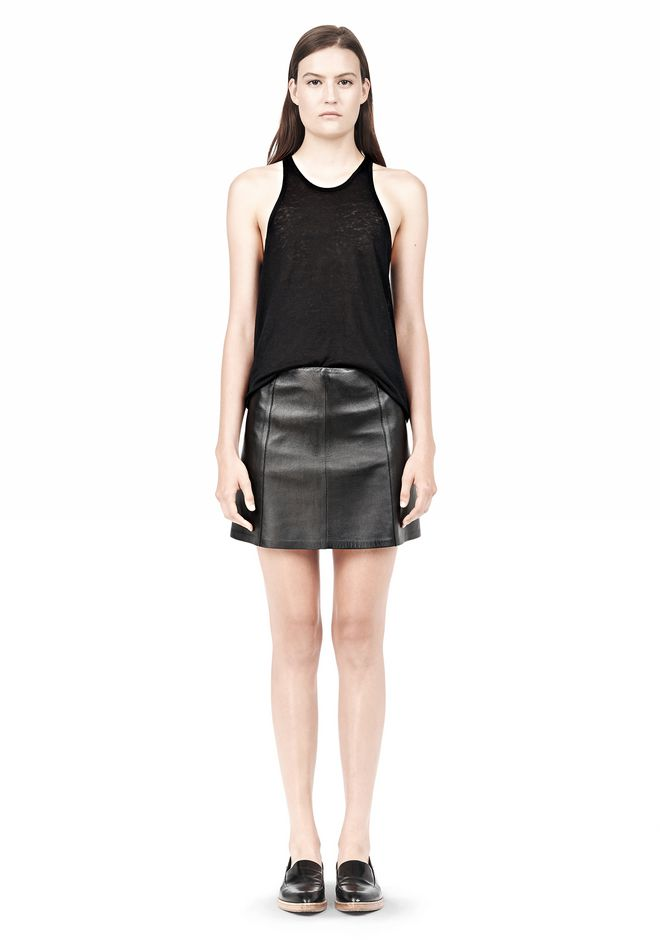 T by ALEXANDER WANG LIGHTWEIGHT A-LINE LEATHER SKIRT Skirt/DEL Adult 12_n_f