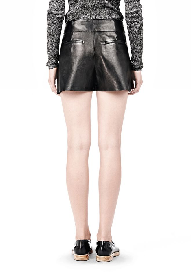 ALEXANDER WANG BLOOMER PLEATED LEATHER SHORTS SHORTS Adult 12_n_a