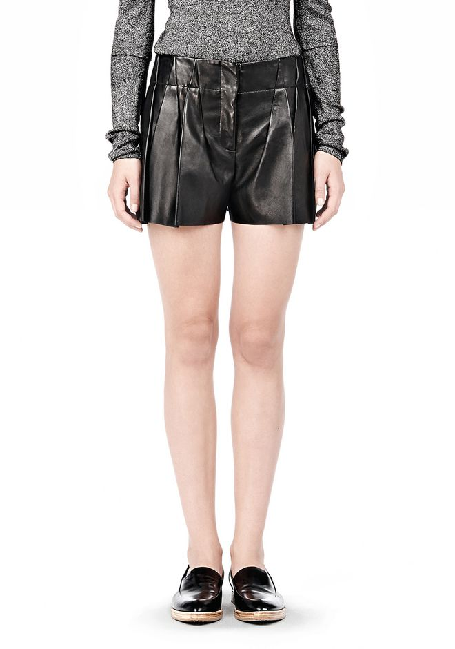 ALEXANDER WANG BLOOMER PLEATED LEATHER SHORTS SHORTS Adult 12_n_d