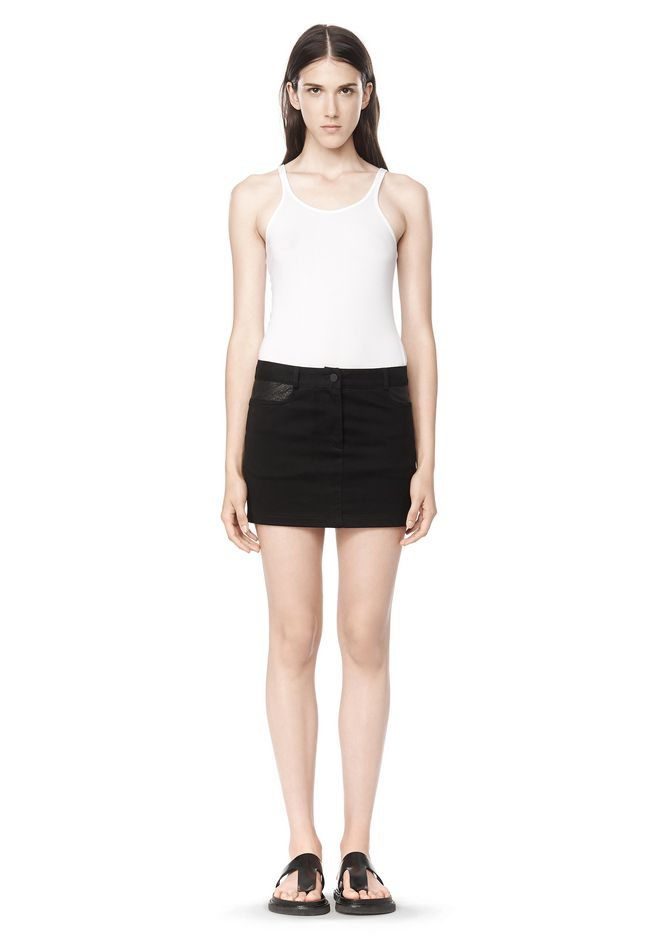 T by ALEXANDER WANG COTTON CANVAS TWILL JEAN SKIRT WITH LEATHER YOKE SKIRT Adult 12_n_f