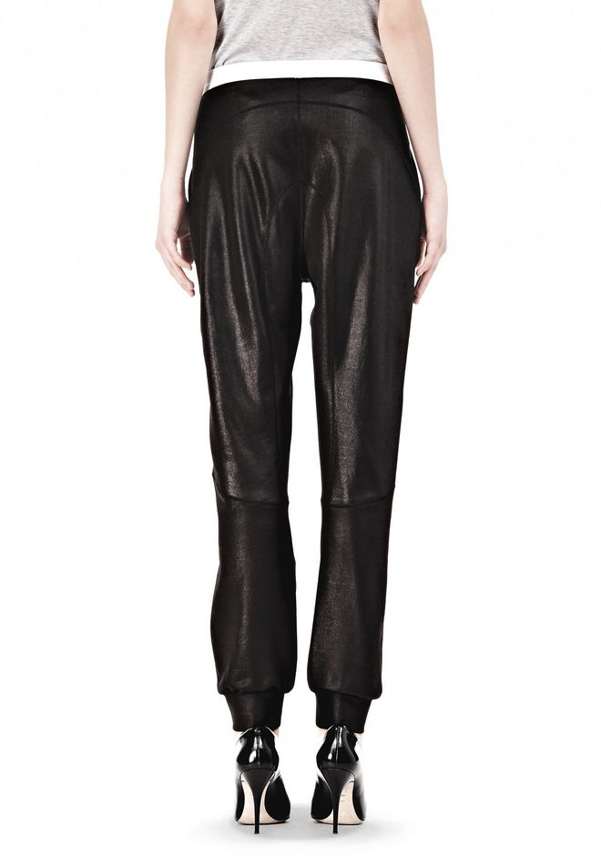 T by ALEXANDER WANG SHINY DOUBLE KNIT SWEAT PANTS PANTS Adult 12_n_a