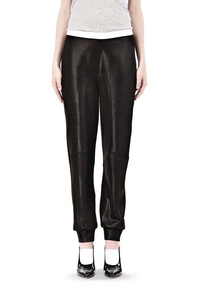 T by ALEXANDER WANG SHINY DOUBLE KNIT SWEAT PANTS PANTS Adult 12_n_d