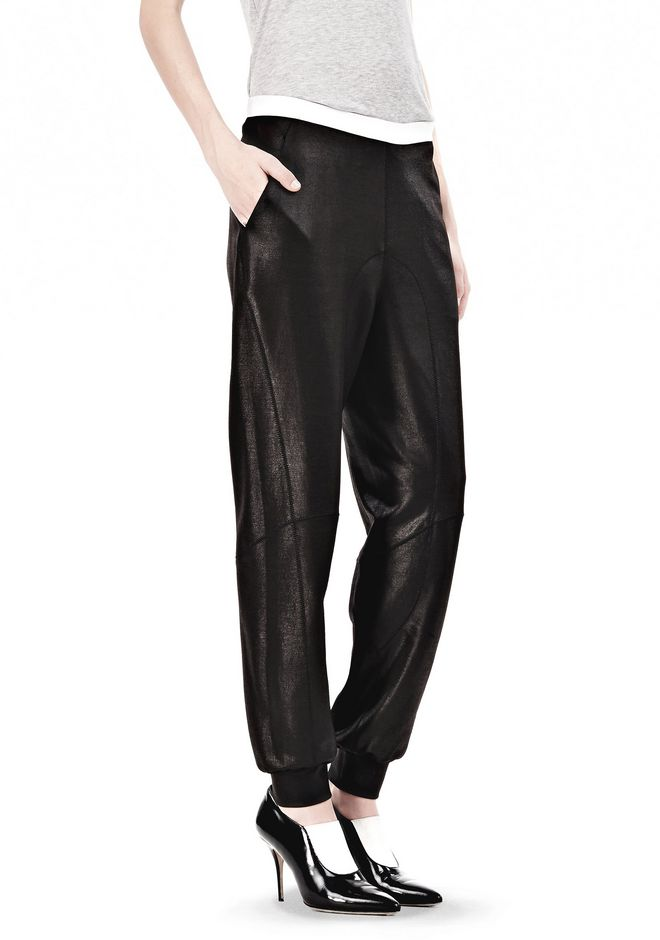 T by ALEXANDER WANG SHINY DOUBLE KNIT SWEAT PANTS PANTS Adult 12_n_e