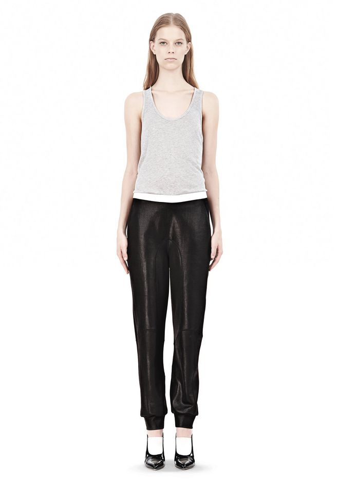 T by ALEXANDER WANG SHINY DOUBLE KNIT SWEAT PANTS PANTS Adult 12_n_f
