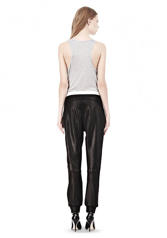 T by ALEXANDER WANG SHINY DOUBLE KNIT SWEAT PANTS PANTS Adult 12_n_r