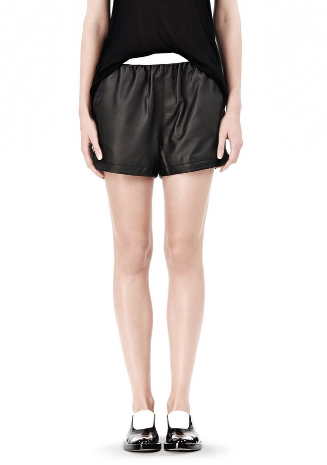 T by ALEXANDER WANG LEATHER SHORTS WITH ELASTIC WAISTBAND SHORTS Adult 12_n_d