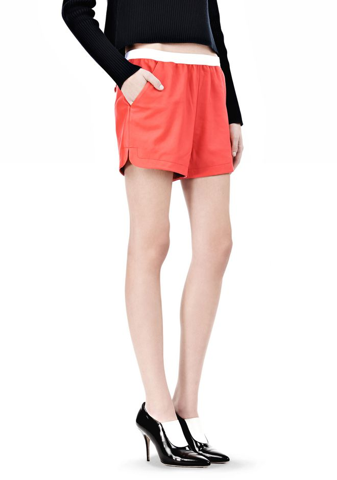 T by ALEXANDER WANG LEATHER SHORTS WITH ELASTIC WAISTBAND SHORTS Adult 12_n_e