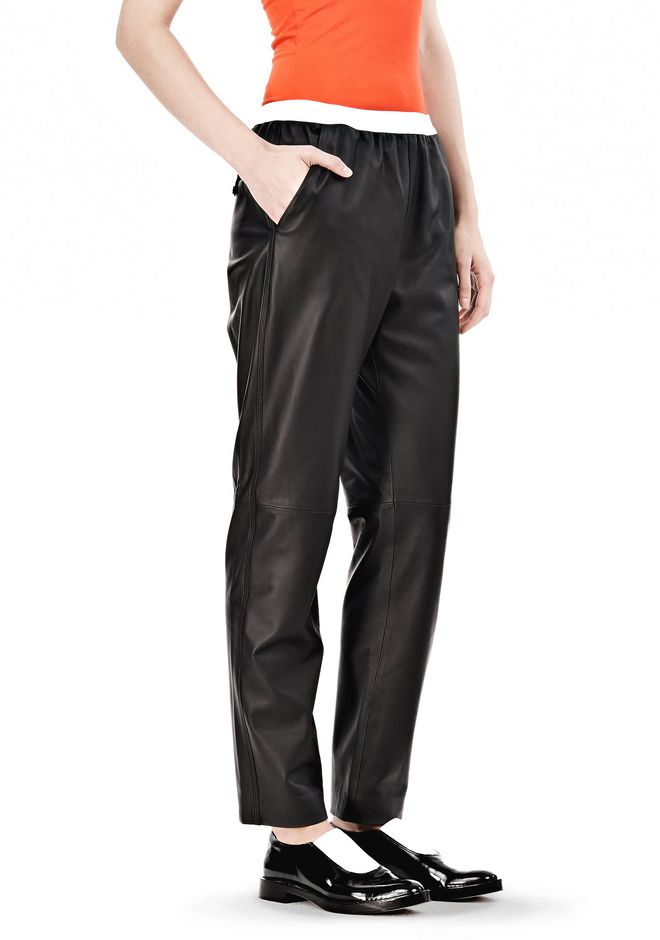 T by ALEXANDER WANG LEATHER PANTS WITH ELASTIC WAISTBAND PANTS Adult 12_n_e
