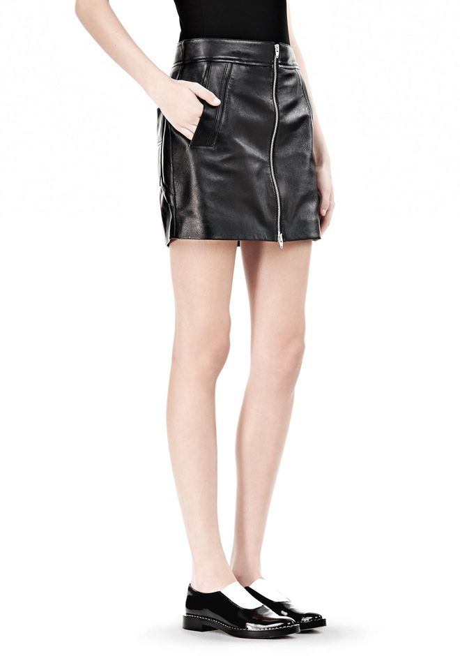 T by ALEXANDER WANG LEATHER TWO-WAY ZIP SKIRT WITH PATCH POCKETS SKIRT Adult 12_n_e