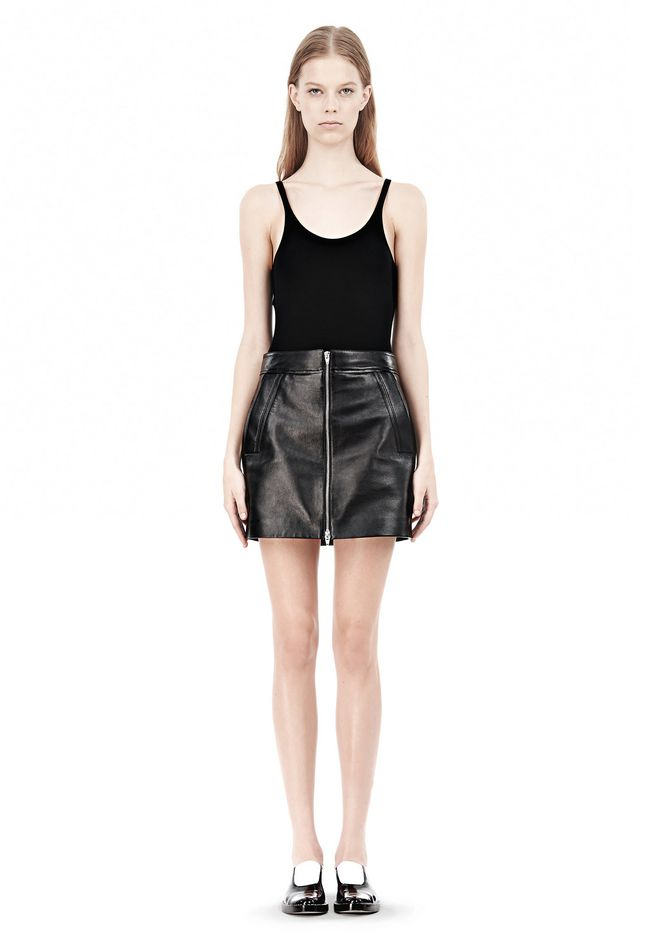 T by ALEXANDER WANG LEATHER TWO-WAY ZIP SKIRT WITH PATCH POCKETS SKIRT Adult 12_n_f