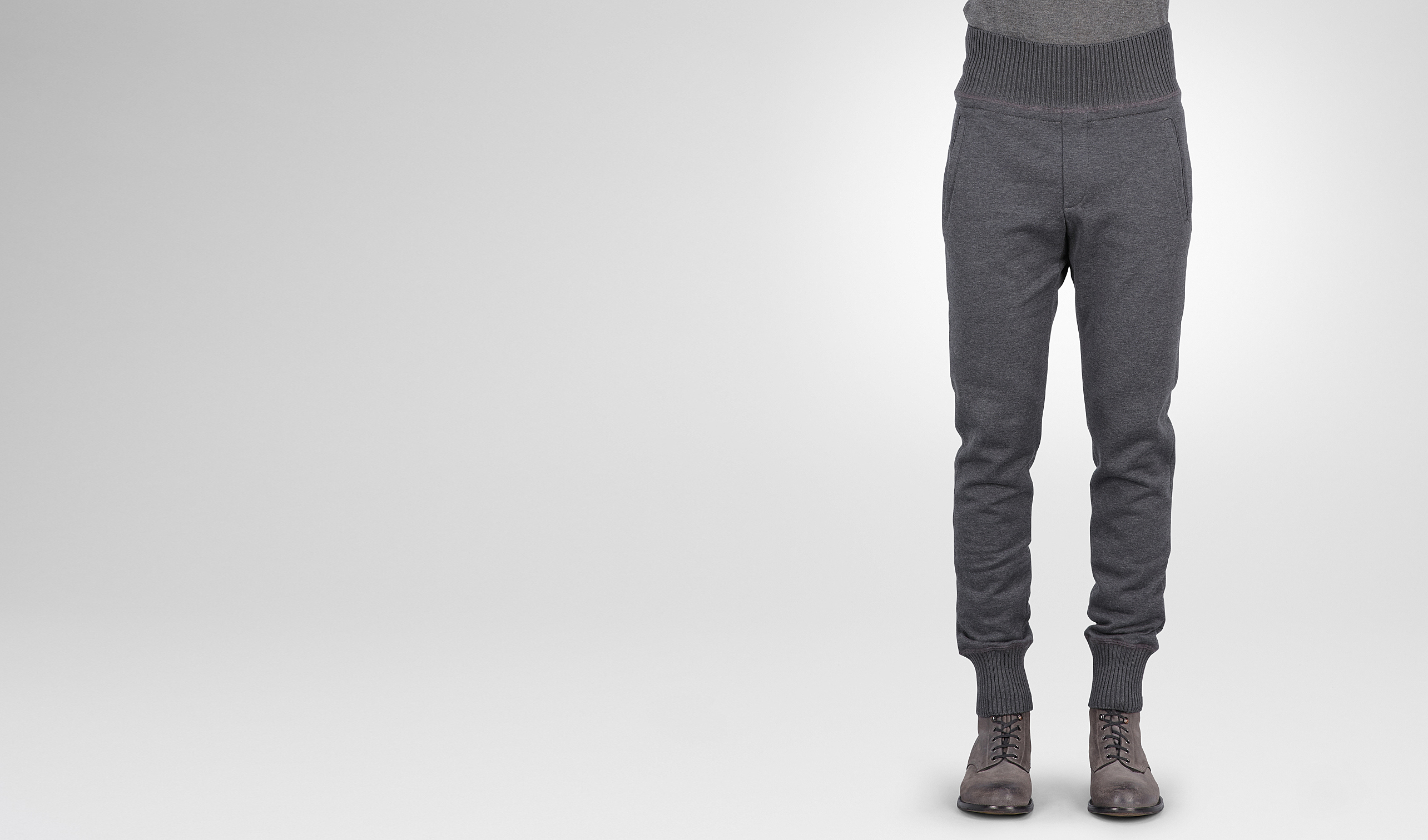 BOTTEGA VENETA Trouser or jeans U New Dark Grey Melange Organic Cotton Wool Jersey Pant pl