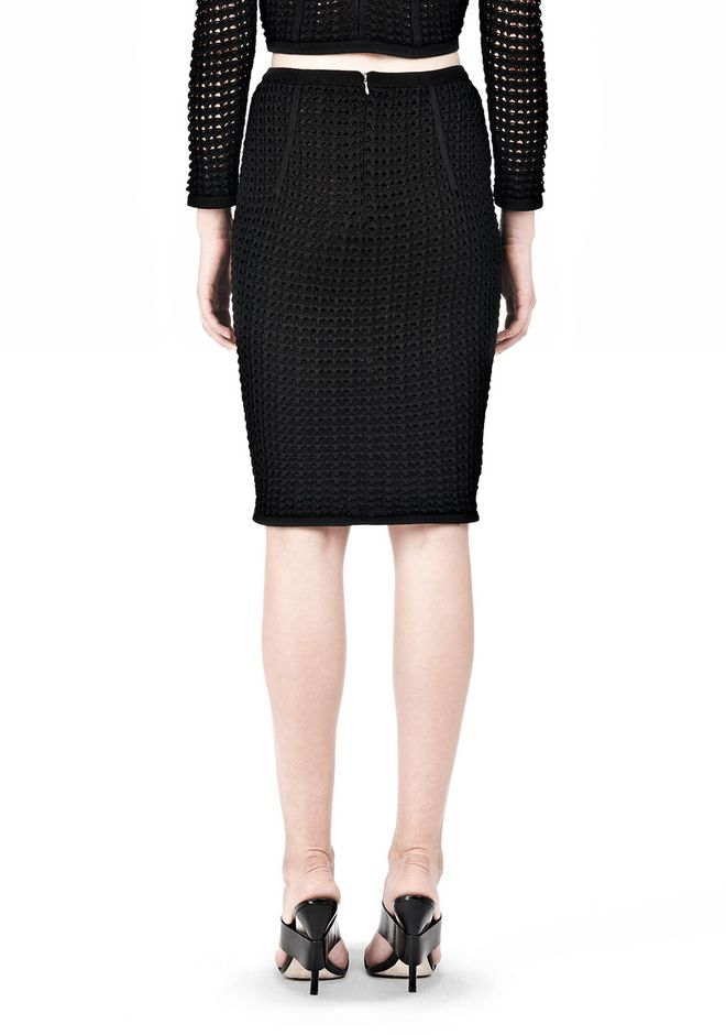 ALEXANDER WANG FITTED CROCHET PENCIL SKIRT SKIRT Adult 12_n_a