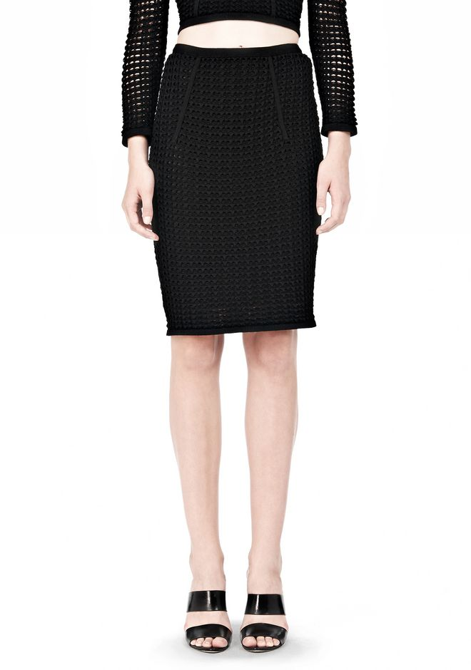 ALEXANDER WANG FITTED CROCHET PENCIL SKIRT SKIRT Adult 12_n_d