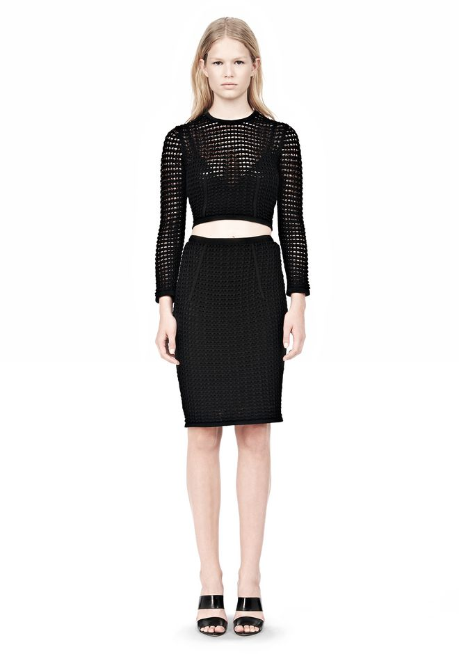ALEXANDER WANG FITTED CROCHET PENCIL SKIRT SKIRT Adult 12_n_f