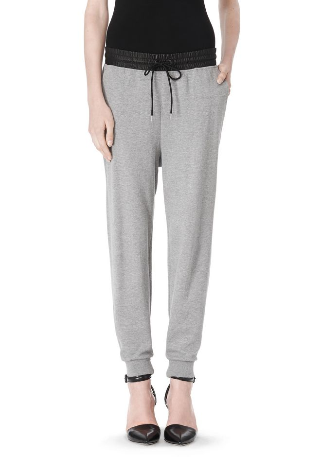 T by ALEXANDER WANG COTTON SWEATPANTS WITH LEATHER WAISTBAND PANTS Adult 12_n_d