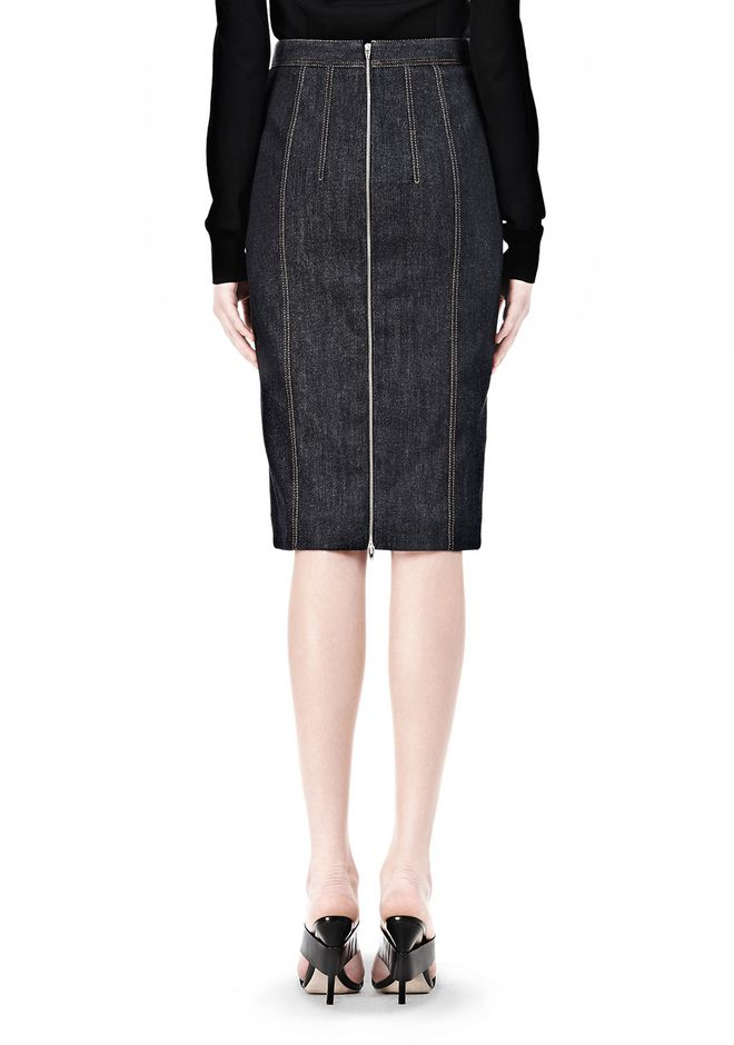 ALEXANDER WANG DENIM PENCIL SKIRT SKIRT Adult 12_n_d