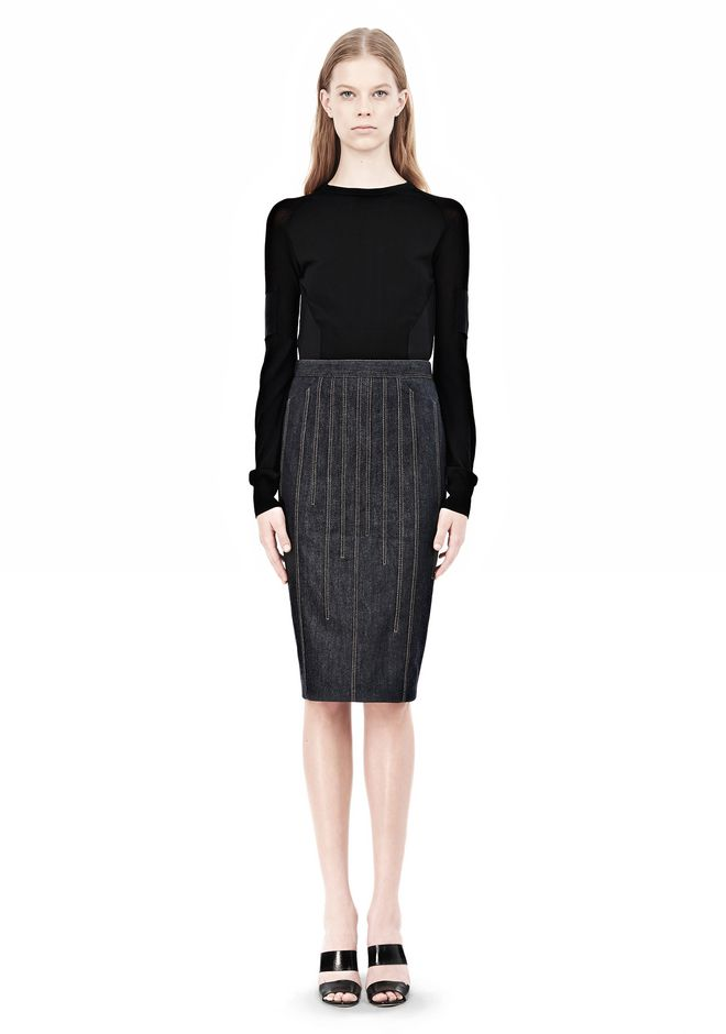 ALEXANDER WANG DENIM PENCIL SKIRT SKIRT Adult 12_n_f