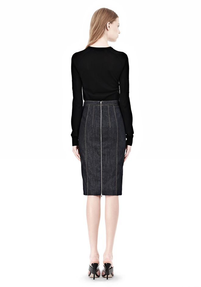 ALEXANDER WANG DENIM PENCIL SKIRT SKIRT Adult 12_n_r