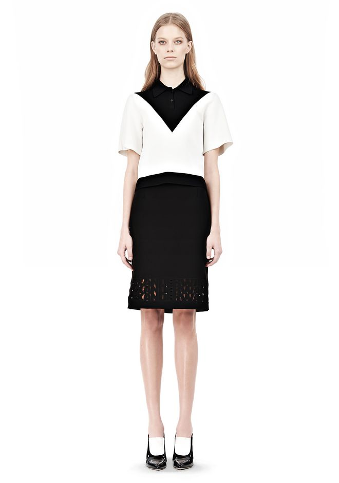 ALEXANDER WANG PENCIL SKIRT WITH LOGO EYELET EMBROIDERY SKIRT Adult 12_n_f