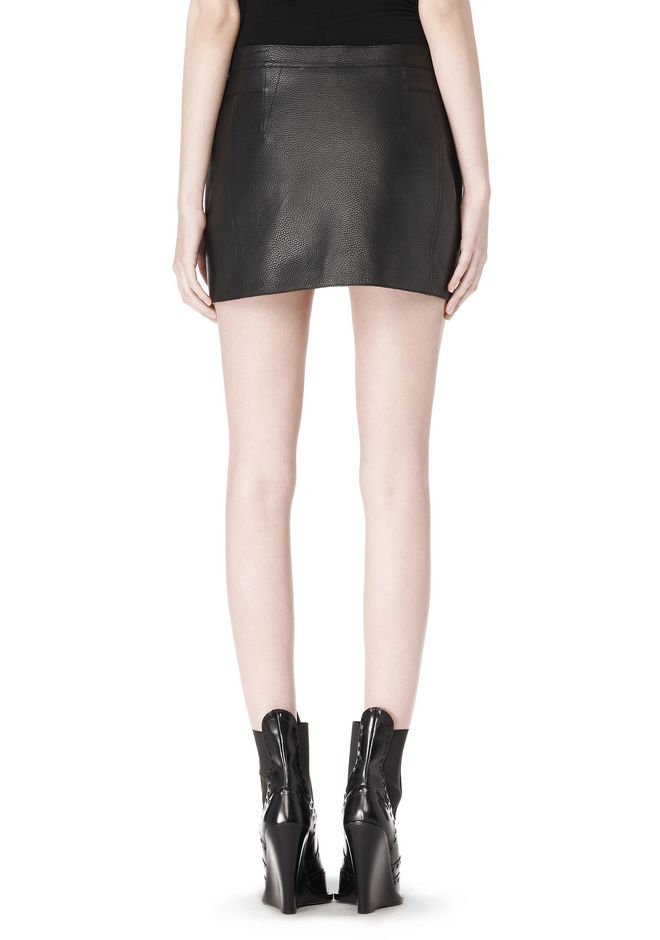 ALEXANDER WANG RAW EDGE LEATHER MINI SKIRT SKIRT Adult 12_n_a