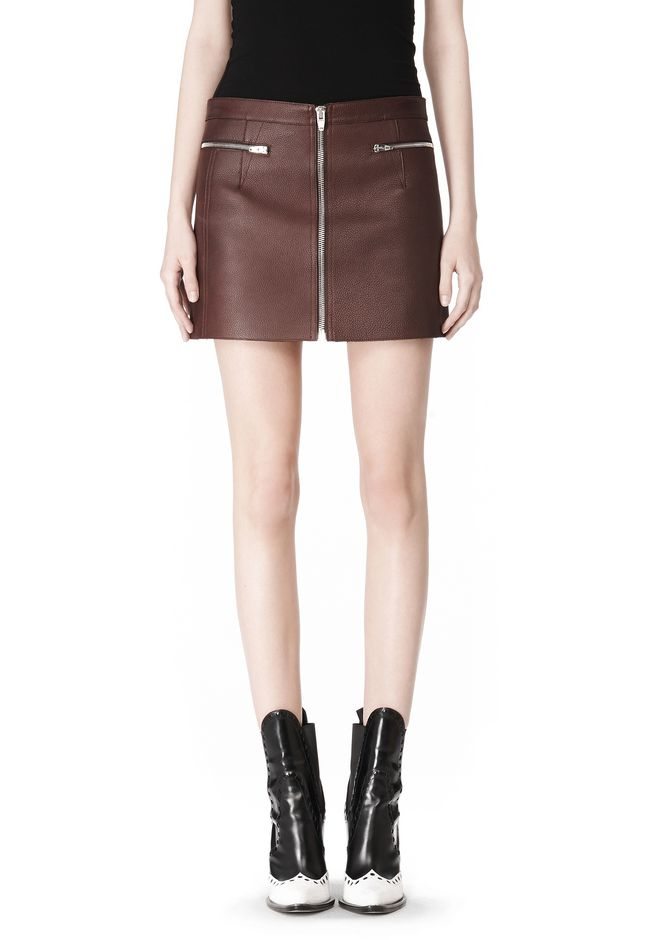 ALEXANDER WANG RAW EDGE LEATHER MINI SKIRT SKIRT Adult 12_n_d