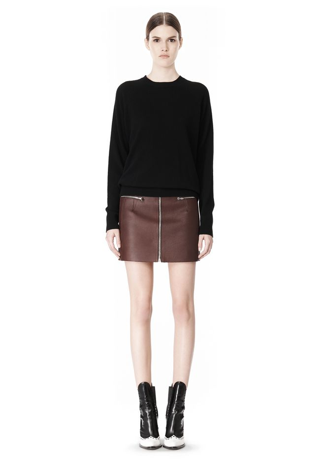 ALEXANDER WANG RAW EDGE LEATHER MINI SKIRT SKIRT Adult 12_n_f