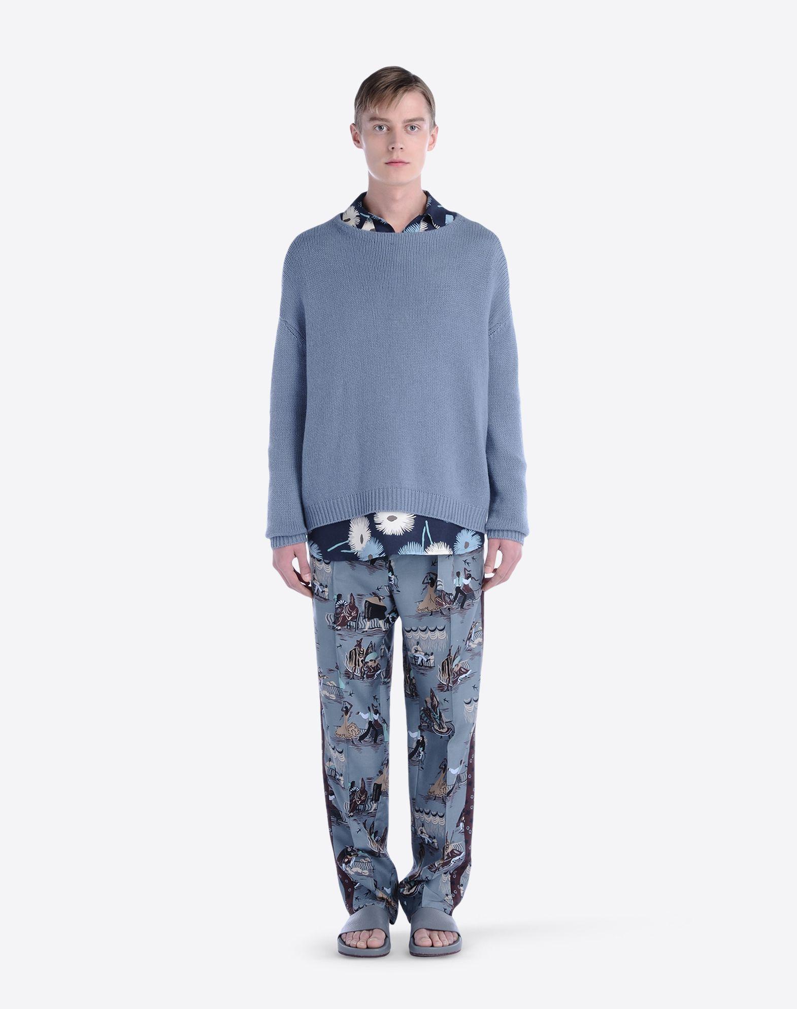 Favoloso Pantalone Baggy In Shantung Di Seta Uomo Valentino Uomo  ST65