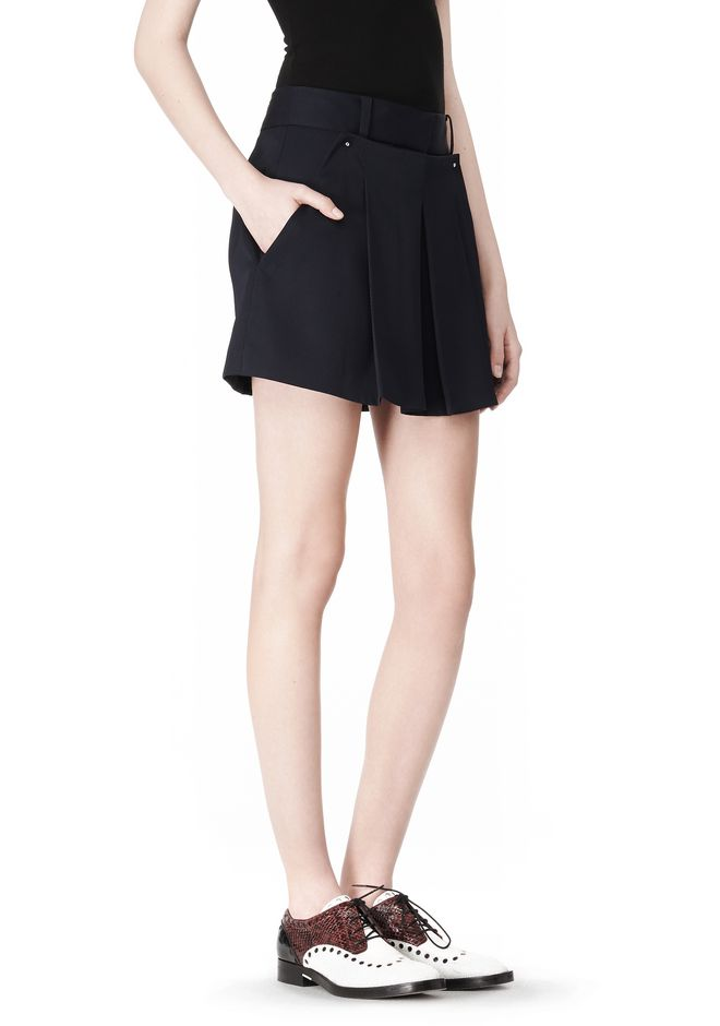 ALEXANDER WANG PLEATED FRONT SKORT WITH STUD DETAIL SKIRT Adult 12_n_e