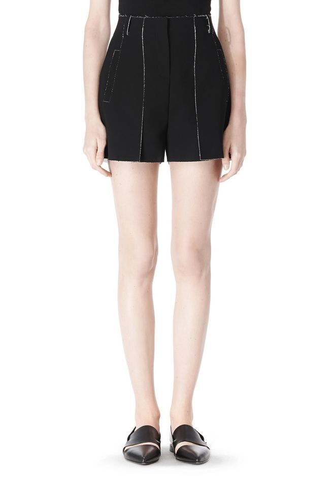 T by ALEXANDER WANG DOUBLE FACE BONDED HIGH WAISTED SHORTS SHORTS Adult 12_n_d
