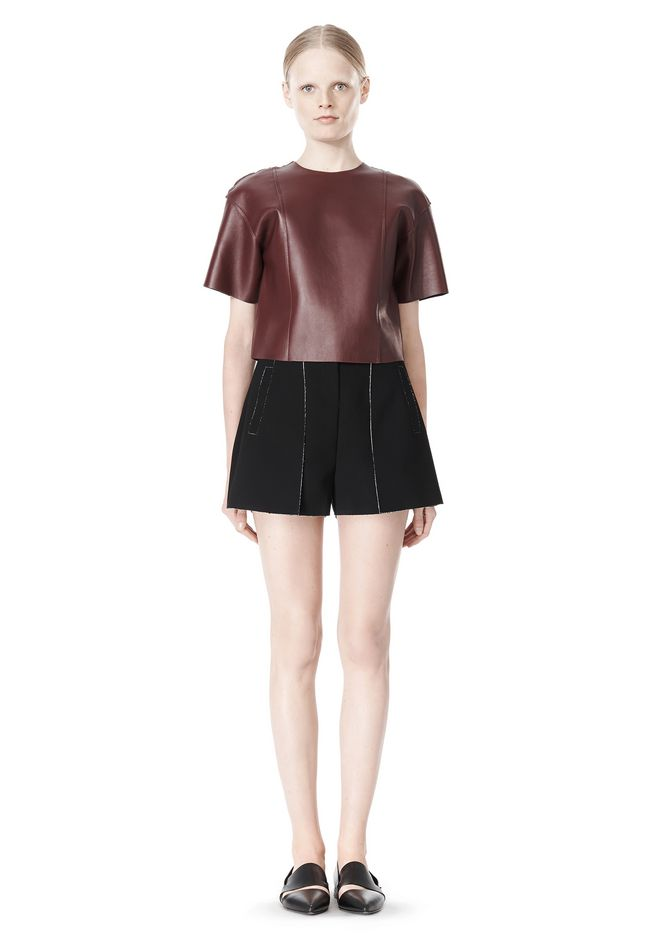 T by ALEXANDER WANG DOUBLE FACE BONDED HIGH WAISTED SHORTS SHORTS Adult 12_n_f