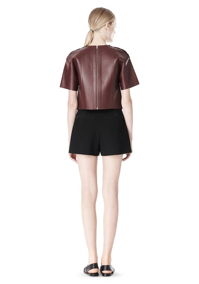 T by ALEXANDER WANG DOUBLE FACE BONDED HIGH WAISTED SHORTS SHORTS Adult 12_n_r