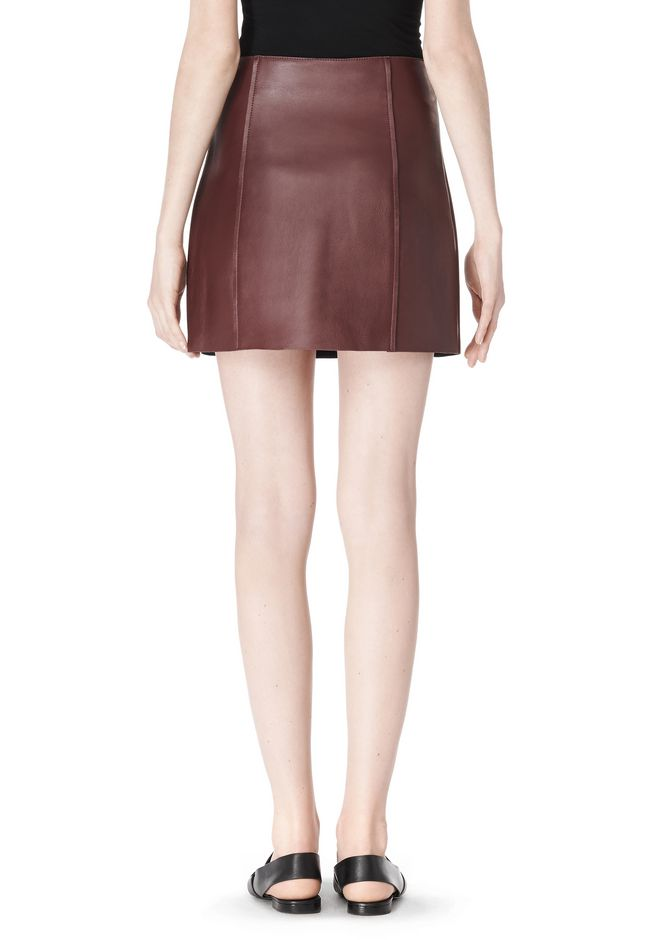 T by ALEXANDER WANG RAW EDGE A-LINE LEATHER SKIRT SKIRT Adult 12_n_a