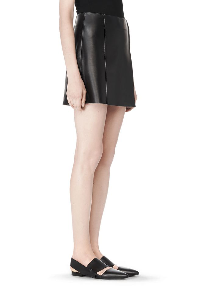 T by ALEXANDER WANG RAW EDGE A-LINE LEATHER SKIRT SKIRT Adult 12_n_e