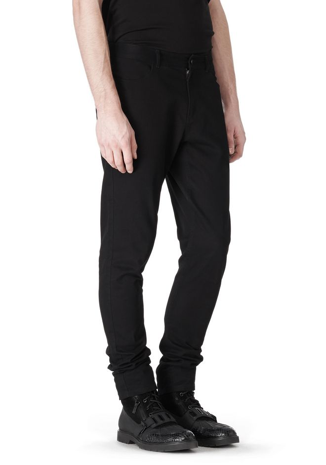 T by ALEXANDER WANG COTTON CANVAS TWILL JEANS WITH LEATHER BACK POCKET PANTS Adult 12_n_a