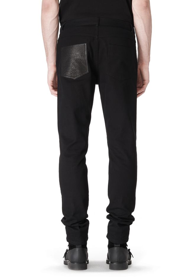 T by ALEXANDER WANG COTTON CANVAS TWILL JEANS WITH LEATHER BACK POCKET PANTS Adult 12_n_d