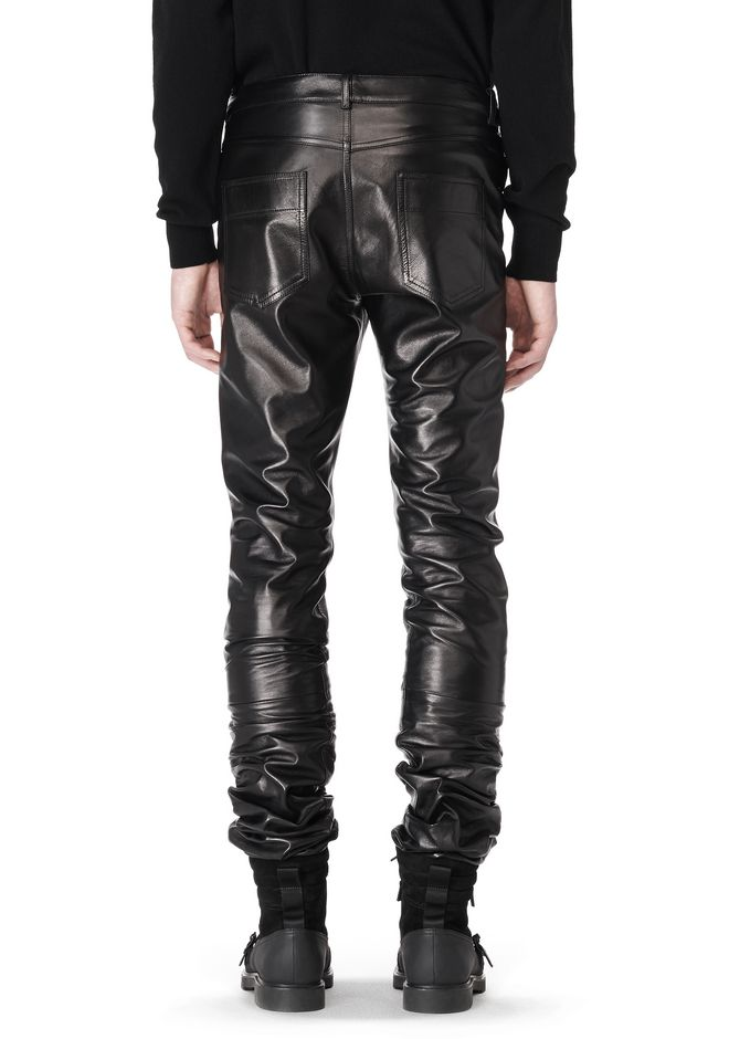ALEXANDER WANG GATHERED LEATHER JEANS PANTS Adult 12_n_d