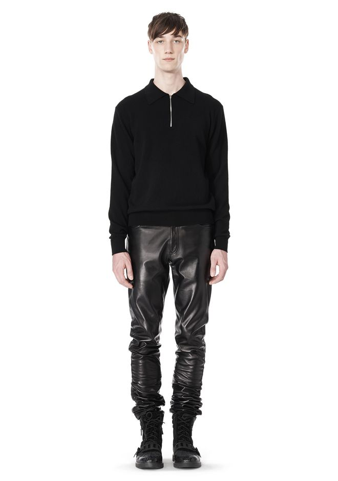 ALEXANDER WANG GATHERED LEATHER JEANS PANTS Adult 12_n_f