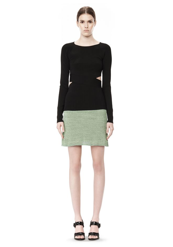 T by ALEXANDER WANG STRETCH RAYON KNIT A-LINE MINI SKIRT SKIRT Adult 12_n_f