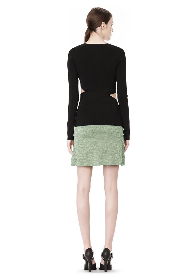 T by ALEXANDER WANG STRETCH RAYON KNIT A-LINE MINI SKIRT SKIRT Adult 12_n_r