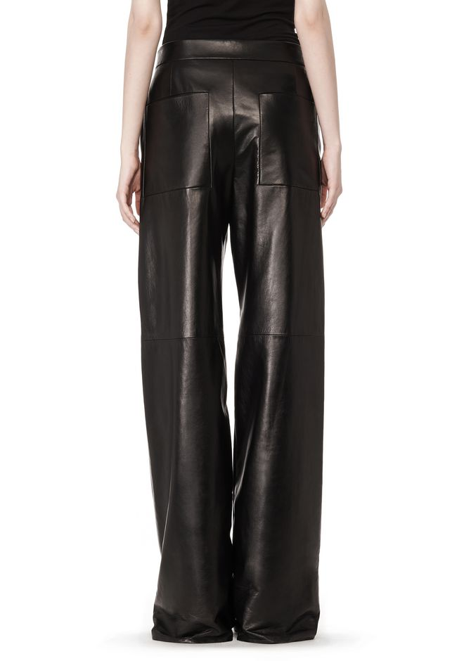 WIDE LEG LEATHER PANT WITH CONTRAST DRAWSTRING | PANTS | Alexander ...