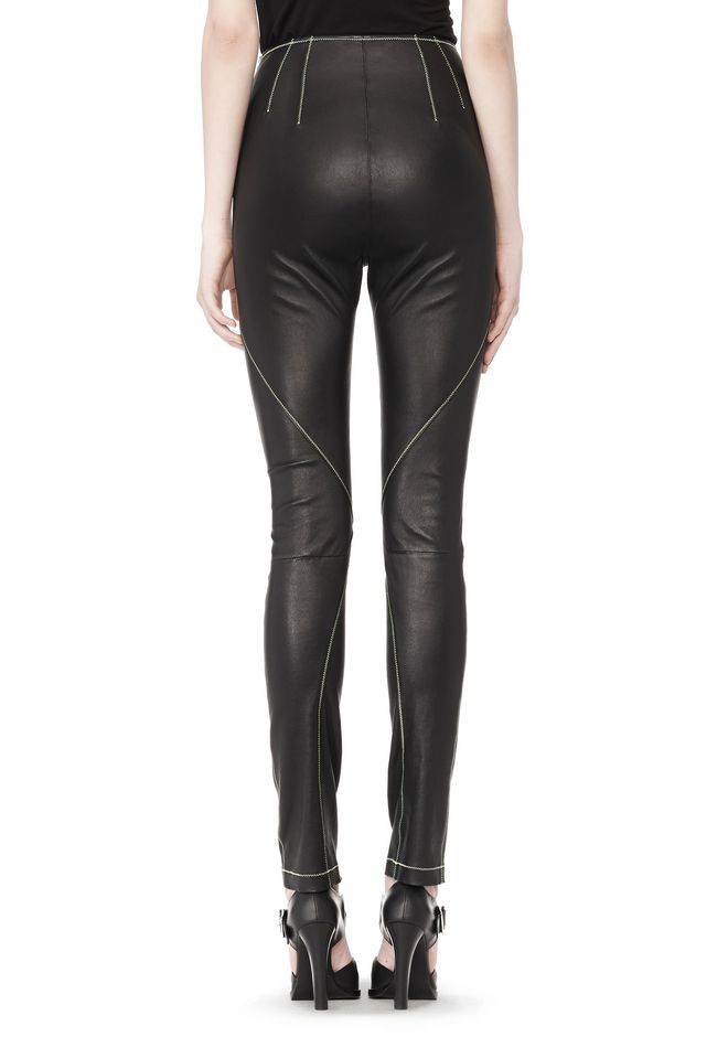 T by ALEXANDER WANG STRETCH LEATHER LEGGINGS WITH STITCH DETAIL PANTS Adult 12_n_a