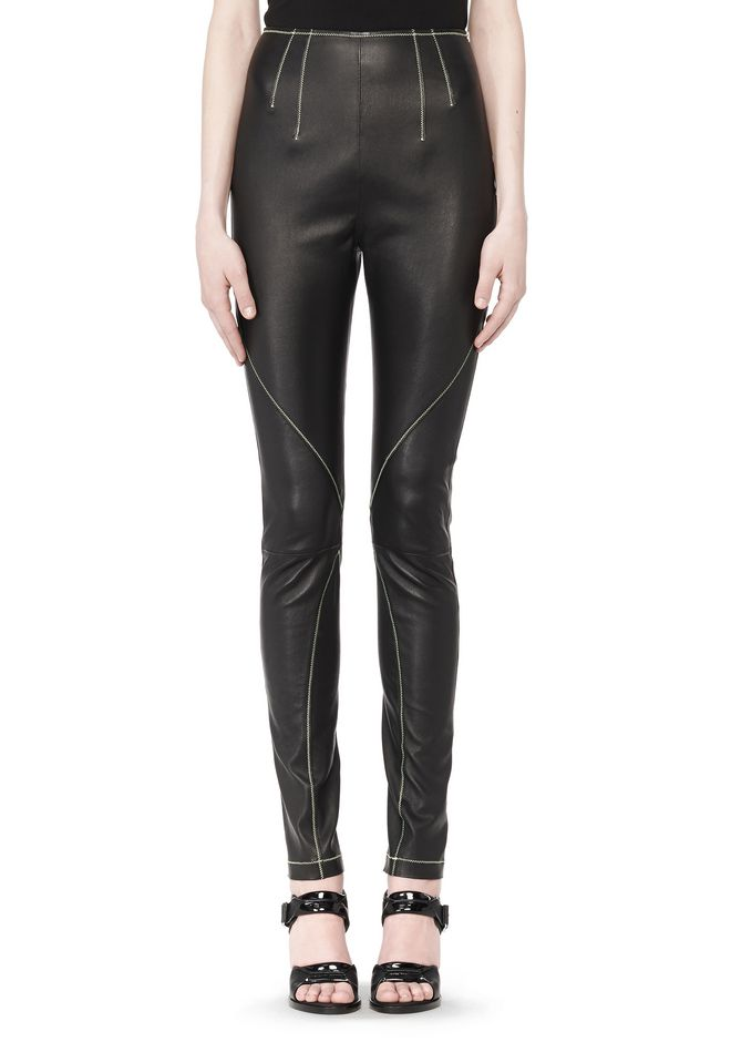 T by ALEXANDER WANG STRETCH LEATHER LEGGINGS WITH STITCH DETAIL PANTS Adult 12_n_d